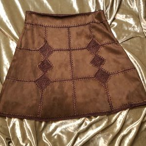 Brown suede crochet skirt NWOT